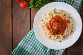 picture of meatball  - Pasta and meatballs with tomato sauce in white plate - JPG