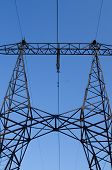 foto of power transmission lines  - supports of high - JPG