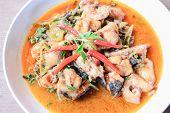 stock photo of catfish  - Thai food name Spicy Fried Stir Catfish - JPG