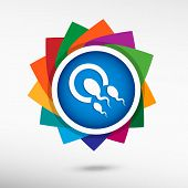 picture of human egg  - Sperms and egg icon color icon vector illustration - JPG