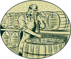 picture of brew  - Etching engraving handmade style illustration of a brewmaster brewer stirring the brew in brew kettle at brewery set inside oval - JPG