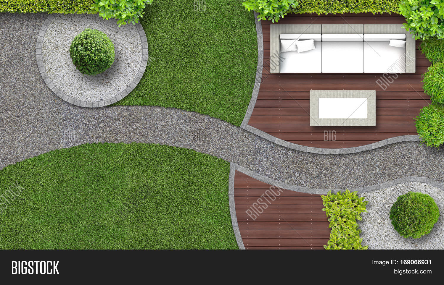 Garden Design Top View Including Image Photo Bigstock