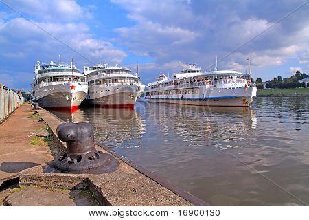 motor ship on pier