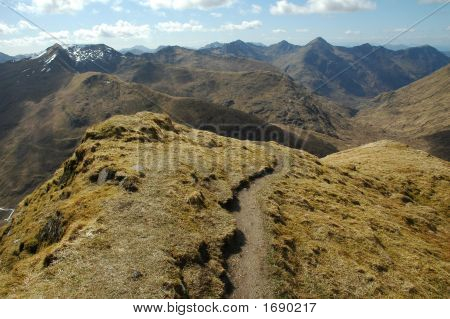 Panorama From Ciste Dubh Mountain, Highlands Of Scotland