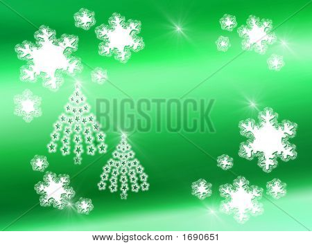 Snowflakes And Star Trees On Green