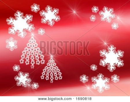 Snowflakes And Star Trees On Red