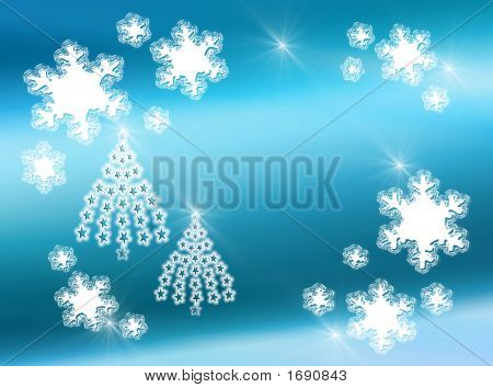 Snowflakes And Star Trees On Blue