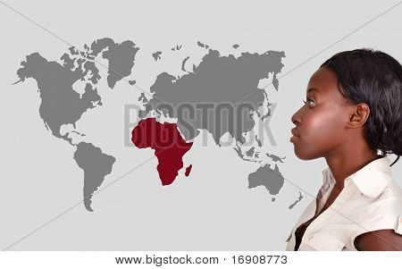 African Woman And World Map