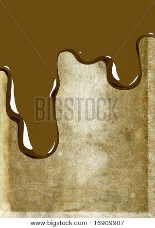 Flüssigkeit auf Grunge hintergrund Schokolade