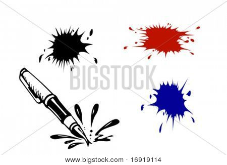 vector varicoloured inkblots on white background