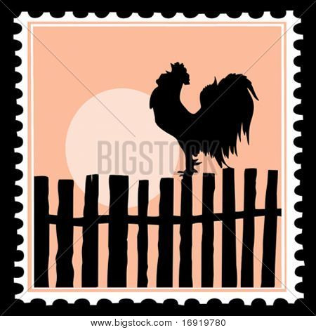 vector silhouette of the cock on postage stamps