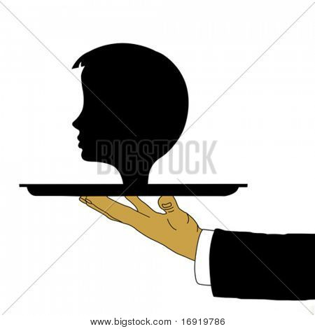 vector hand of the waiter with head on tray