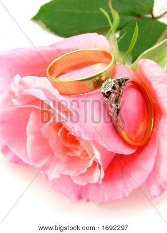 Pink Rose Wedding Ring And Engagement Ring