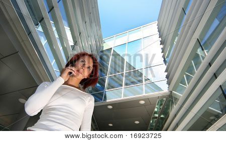 redhead girl with cellular