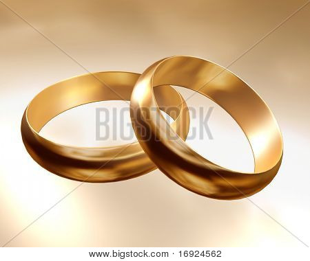 two golden wedding rings