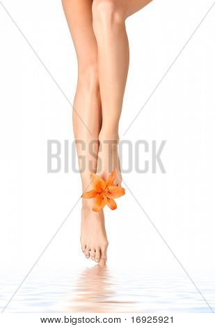 Beautiful legs with a lily flower