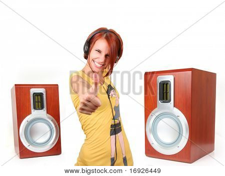 funny young girl listening music