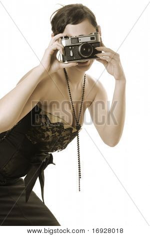 retro photograph woman taking picture (colored sepia)