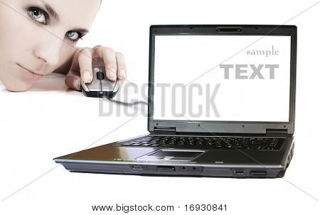 modern young woman with laptop