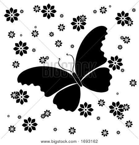 Butterfly Floral Background Ornamental Art 28