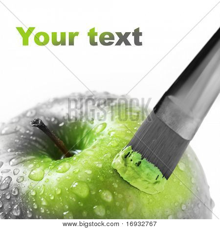 bright green apple on white
