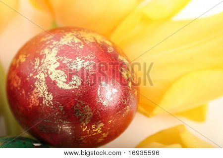 Easter red egg and yellow tulips