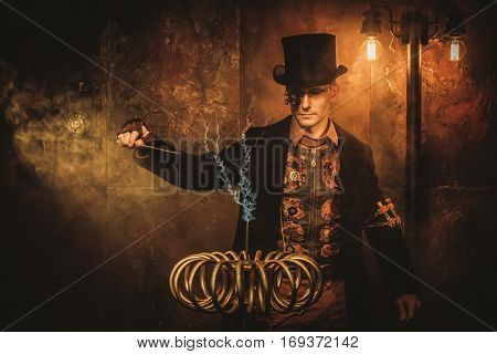 Steampunk man with Tesla coil