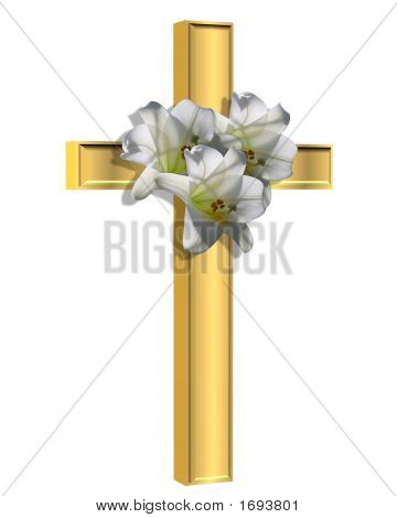 Gold Cross And Easter Lilies