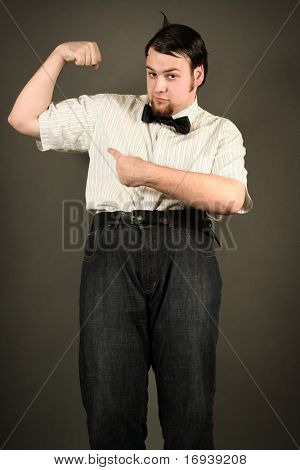 funny eccentric guy on dark background