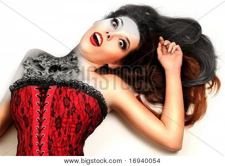 beautiful woman with stone facture on her body