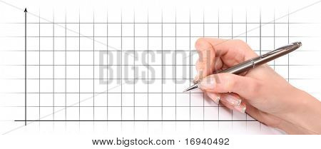 writing hand on diagram