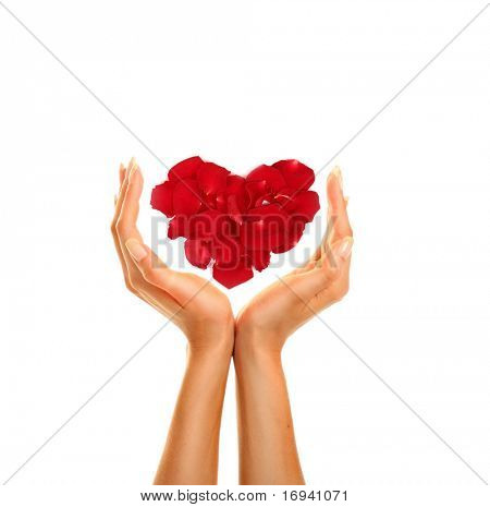 woman's hands with red heart