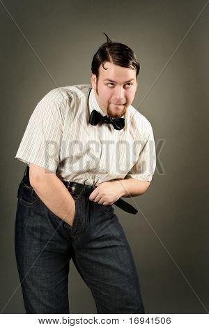eccentric funny guy on dark background