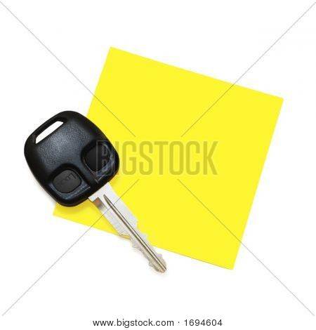 Note With Key (Isolated On White)