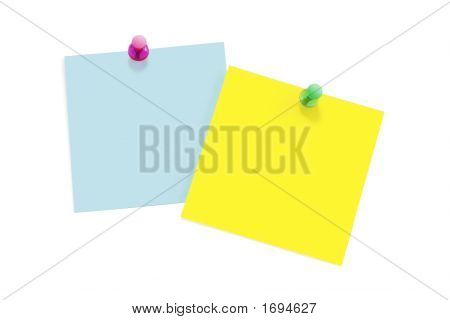 Notes With Push Pins (Isolated On White)