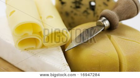 4 kinds of cheese with a cheese knife