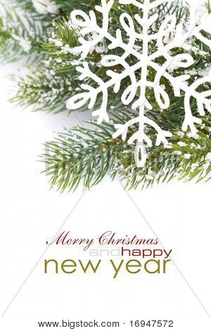 Frame from christmas branch over white with sample text