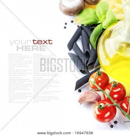 pasta ingredients (Penne, olive oil, basil, mushrooms, tomato,garlic) With sample text