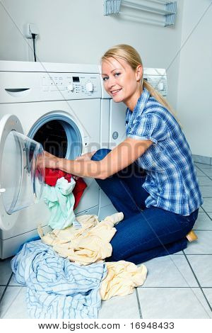Housewife washing