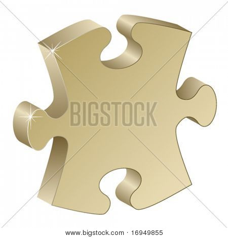 3d metallic puzzle piece