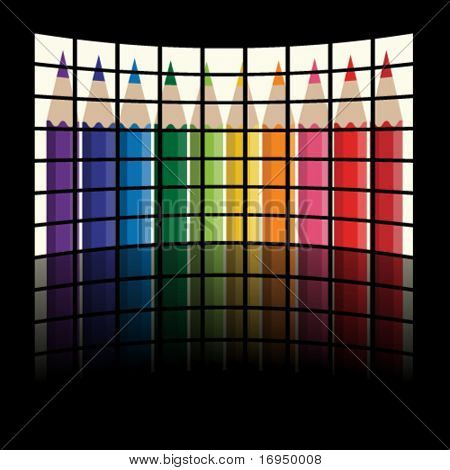 vector lcd tv panels - rainbow crayons