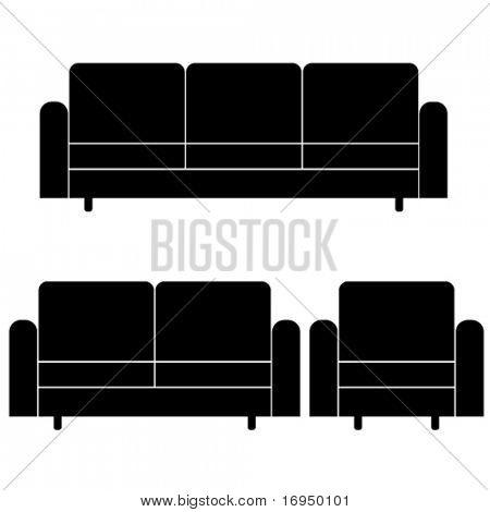 vector sofas and armchair