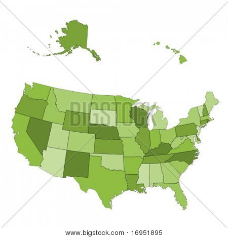 Vector USA map -  states separated in the groups