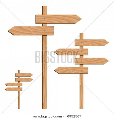 Vektor aus Holz Richtungspfeile
