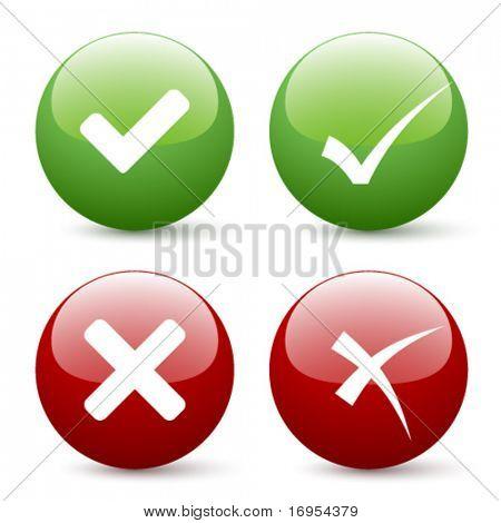botões de marca de seleção do vetor