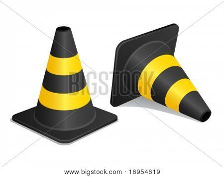 Vektor Traffic Cones mit Schatten