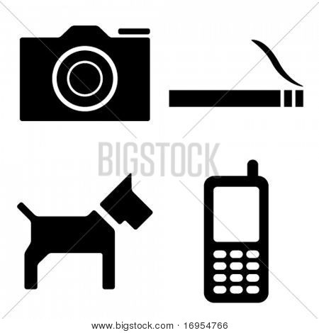 vector camera cigarette dog phone icons