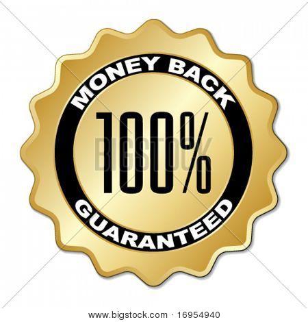 vector money back guaranteed label