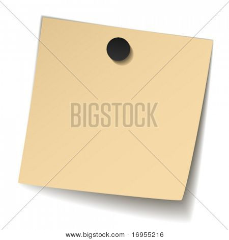vector yellowed note paper with magnet