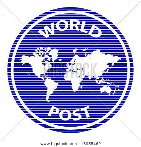 vector abstract world post rubber stamp